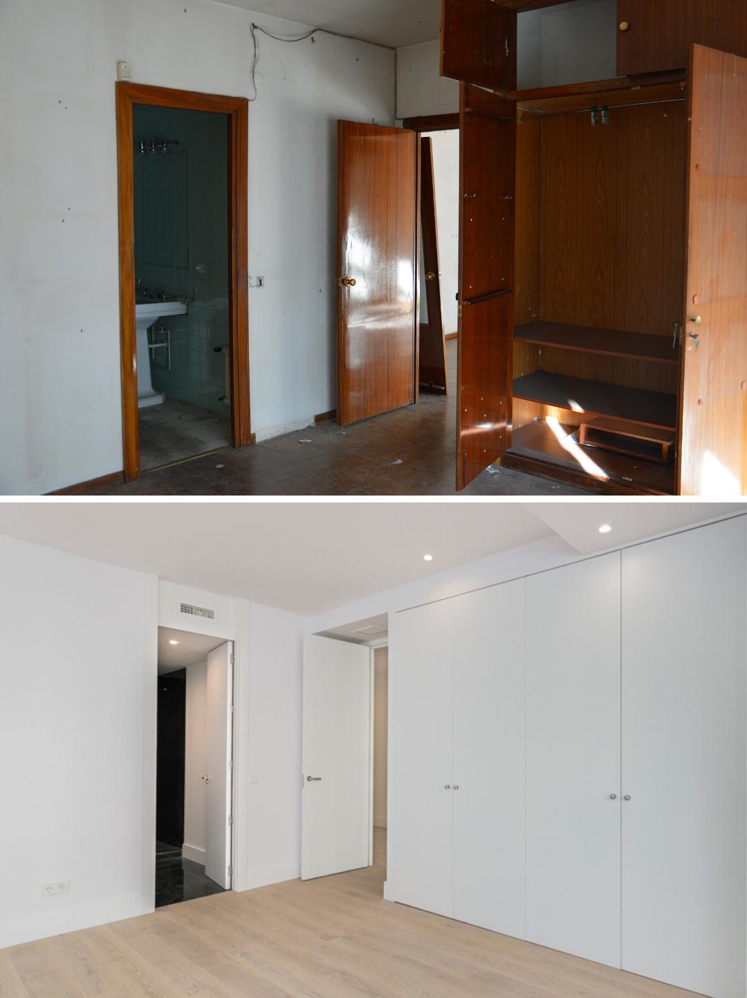 Antes y despues de reformar dormitorio de piso centrico en Madrid