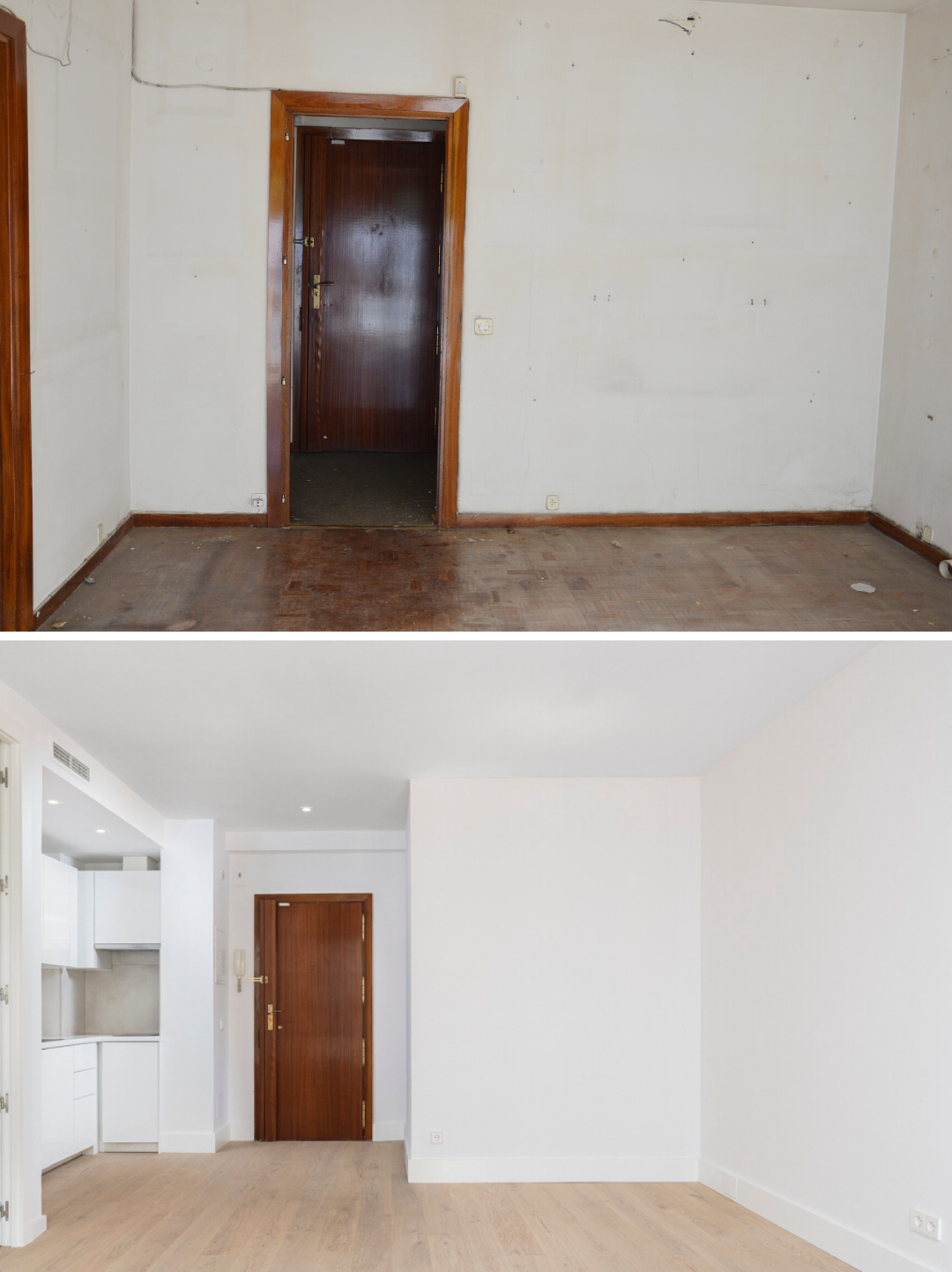 Antes y despues de reformar salon de piso centrico en Madrid