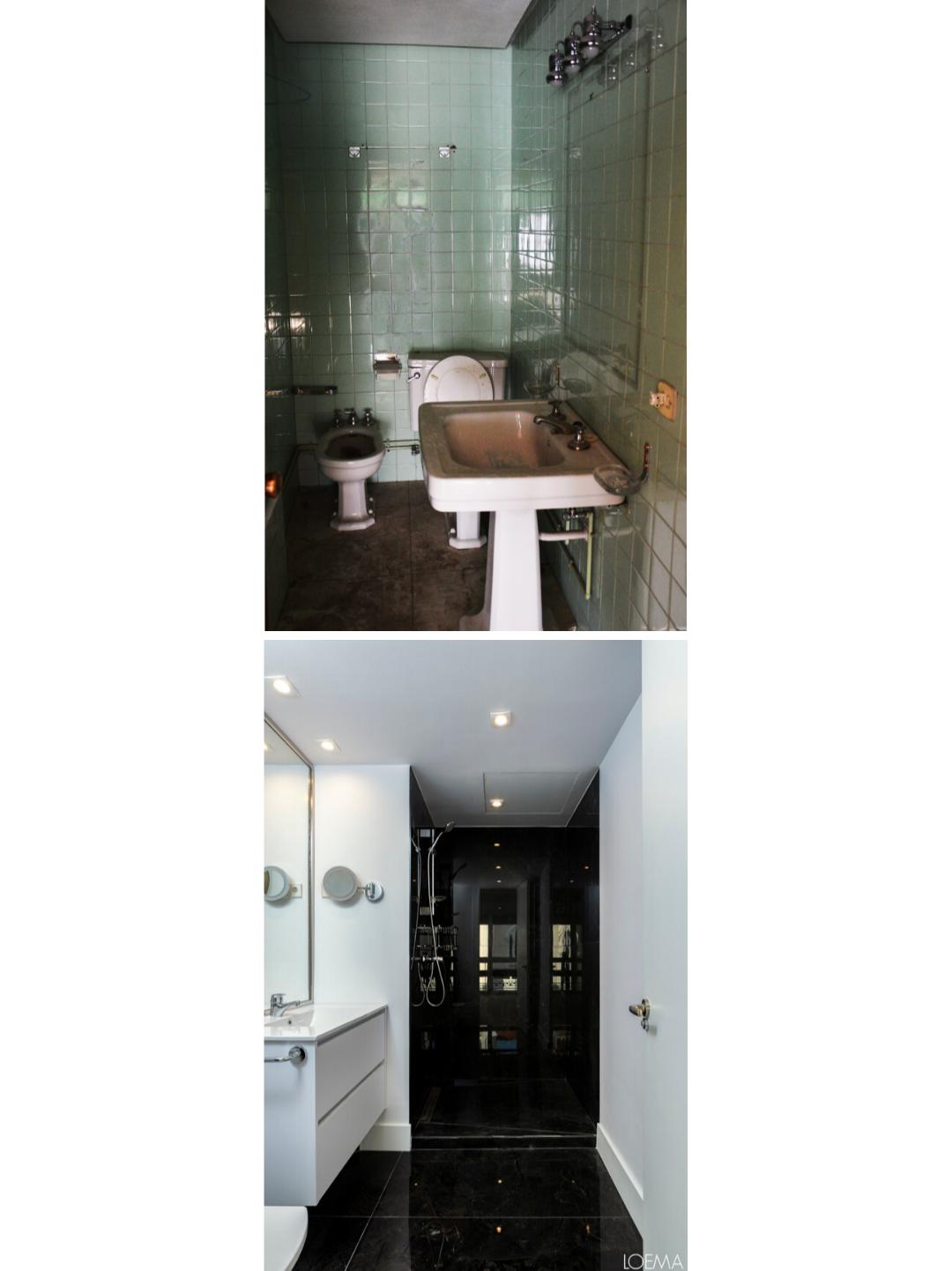 Antes y despues de reformar bano de piso centrico en Madrid