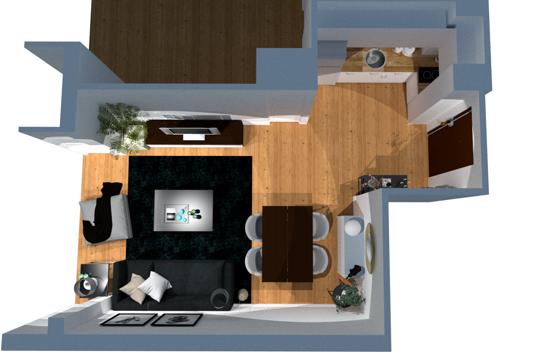 Planos 3D de vivienda en barrio salamanca antes de la reforma integral