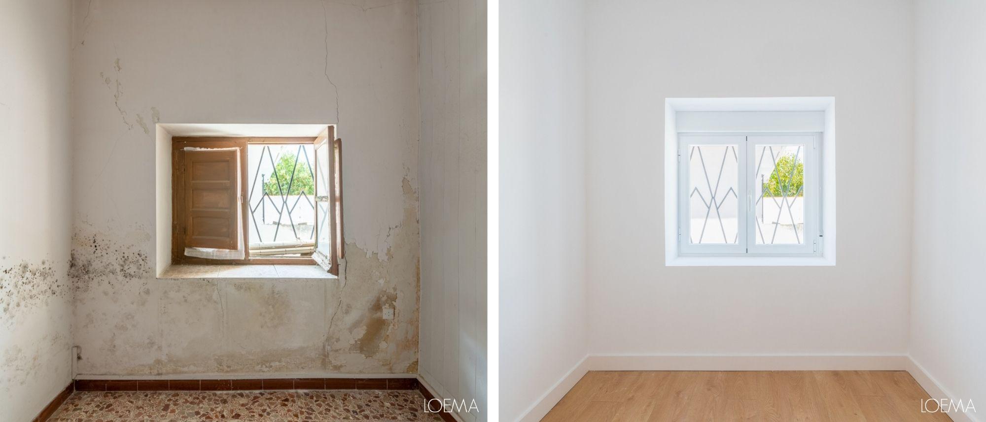 Antes y despues ventana casa antigua