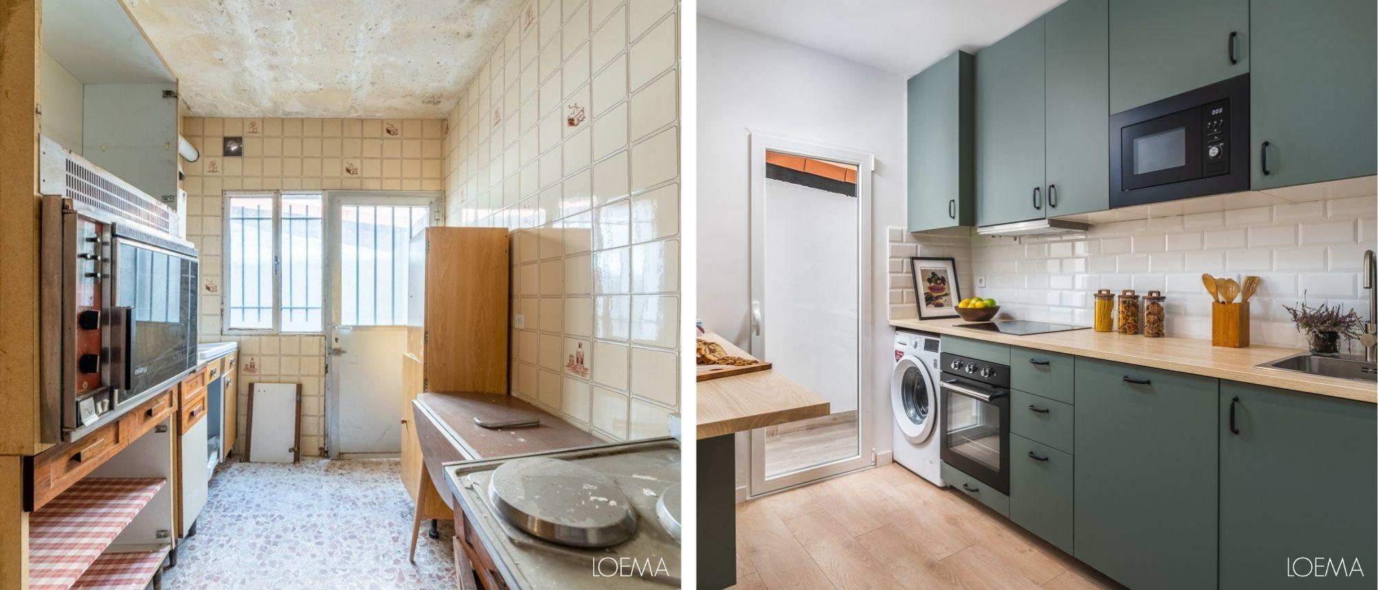 antes y despues cocina antigua