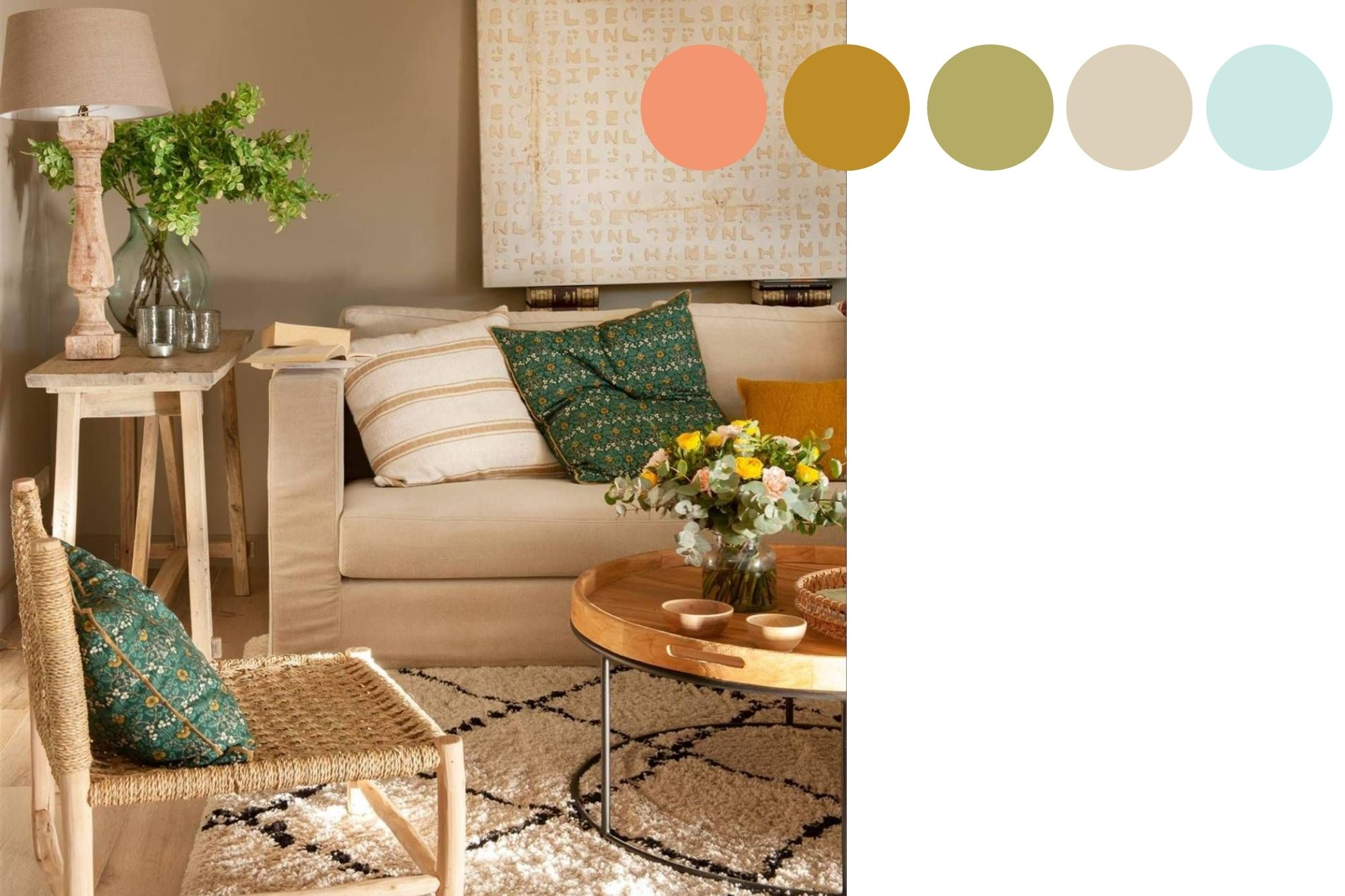 Paleta de colores primavera 2021, coral, mostaza, verde, azul y beige