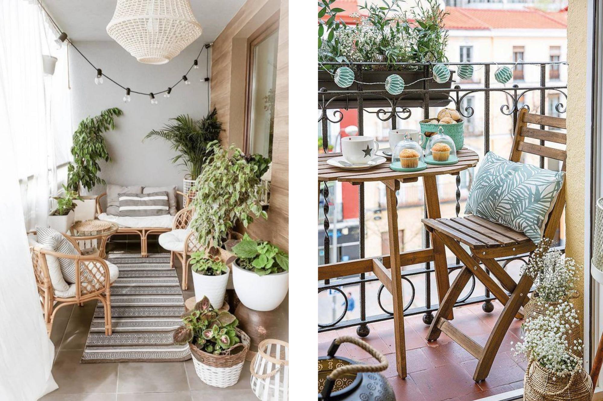 Dos imagenes de inspiracion para decorar una terraza pequeña