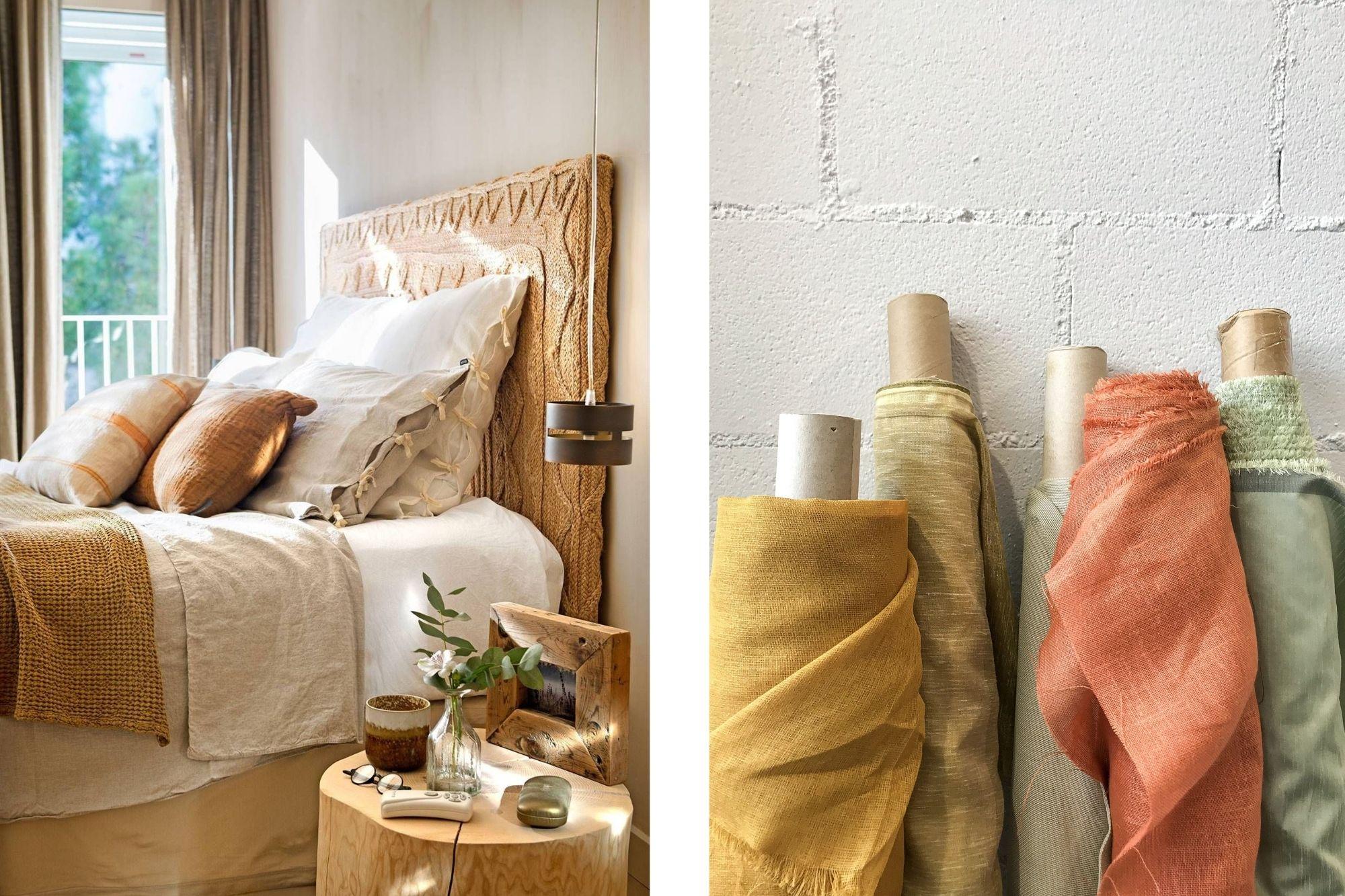 Habitacion con sabanas de lino y varias telas de lino de diferentes colores